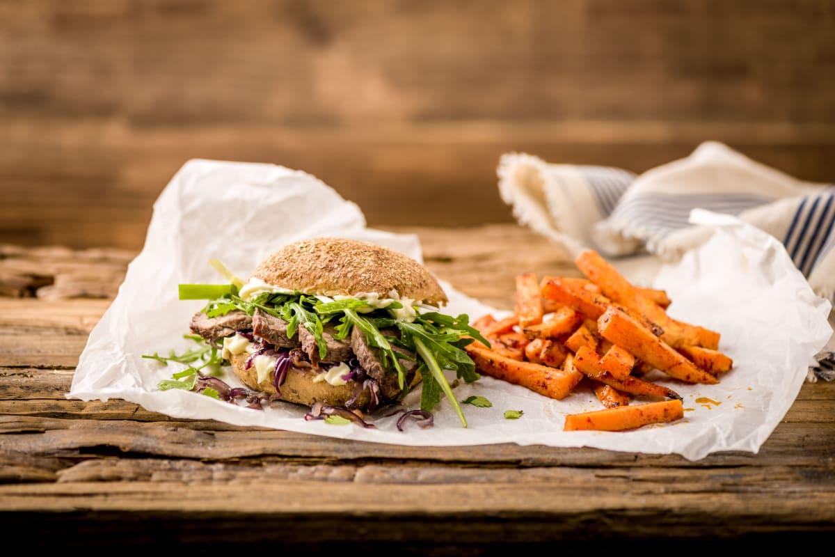 Steak-Sandwich mit Wasabi-Mayonnaise