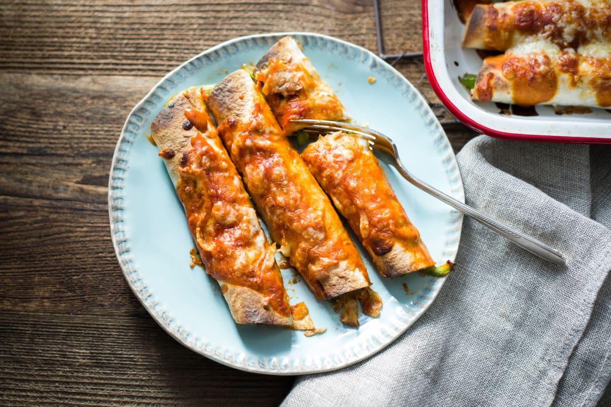 Skillet Seitan Enchiladas