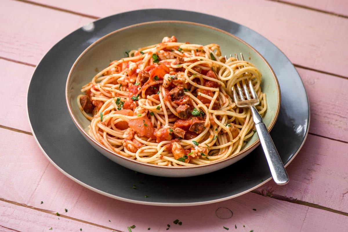 Tiger Prawn and Chorizo Spaghetti