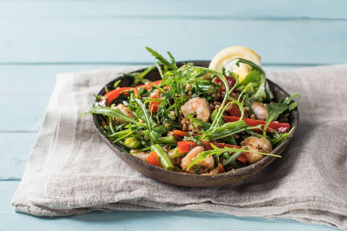 Warm Shrimp and Farro Salad