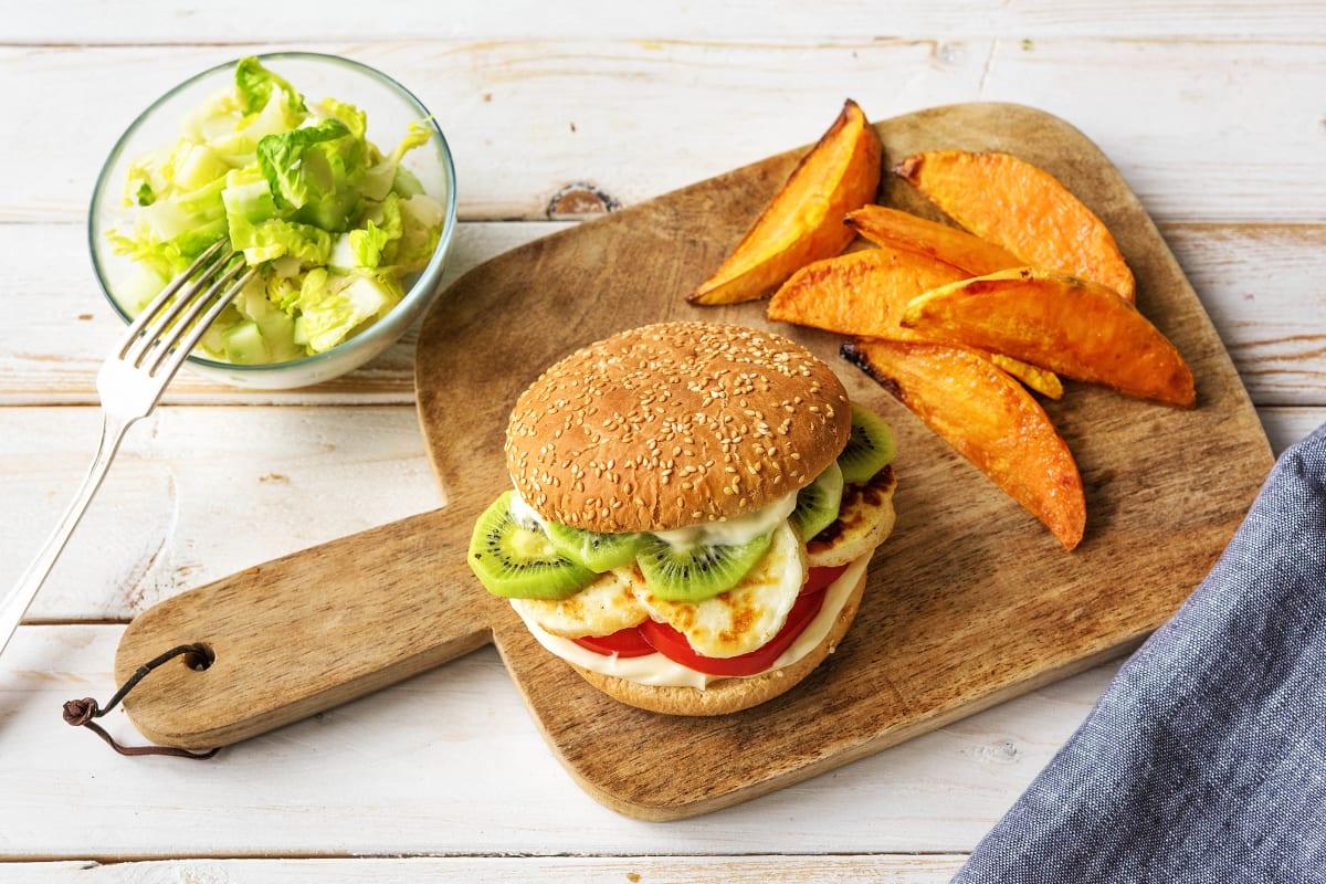 Kiwi-Grillbratchäs-Burger