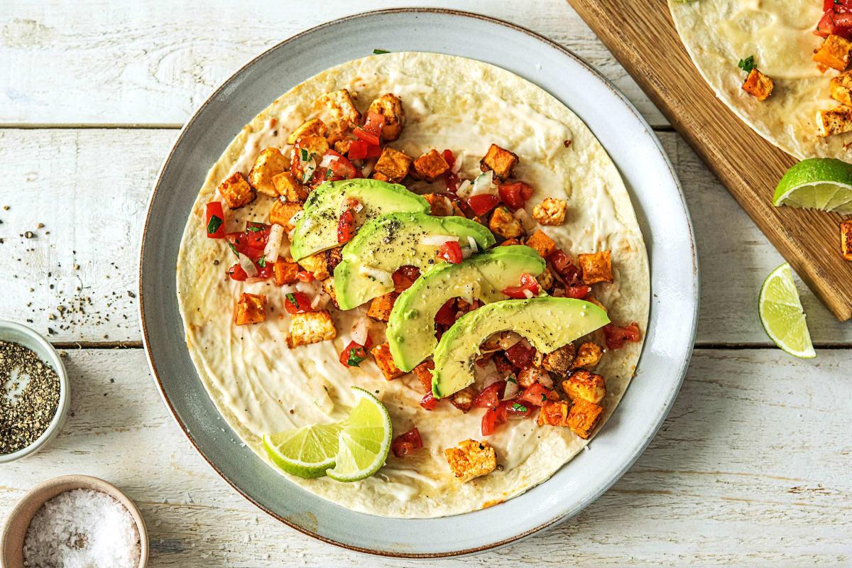 Rauchige Süßkartoffel-Hirtenkäse-Tacos