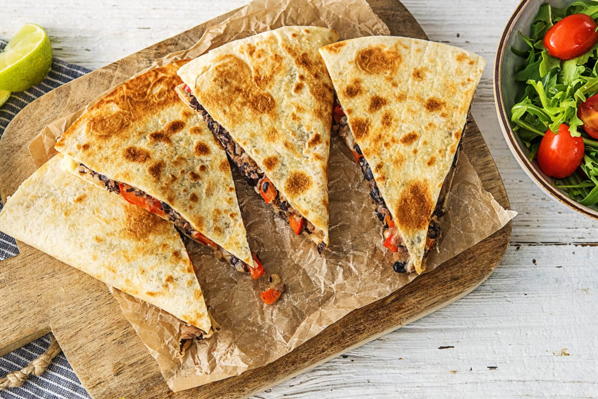 Bell Pepper and Black Bean Quesadillas