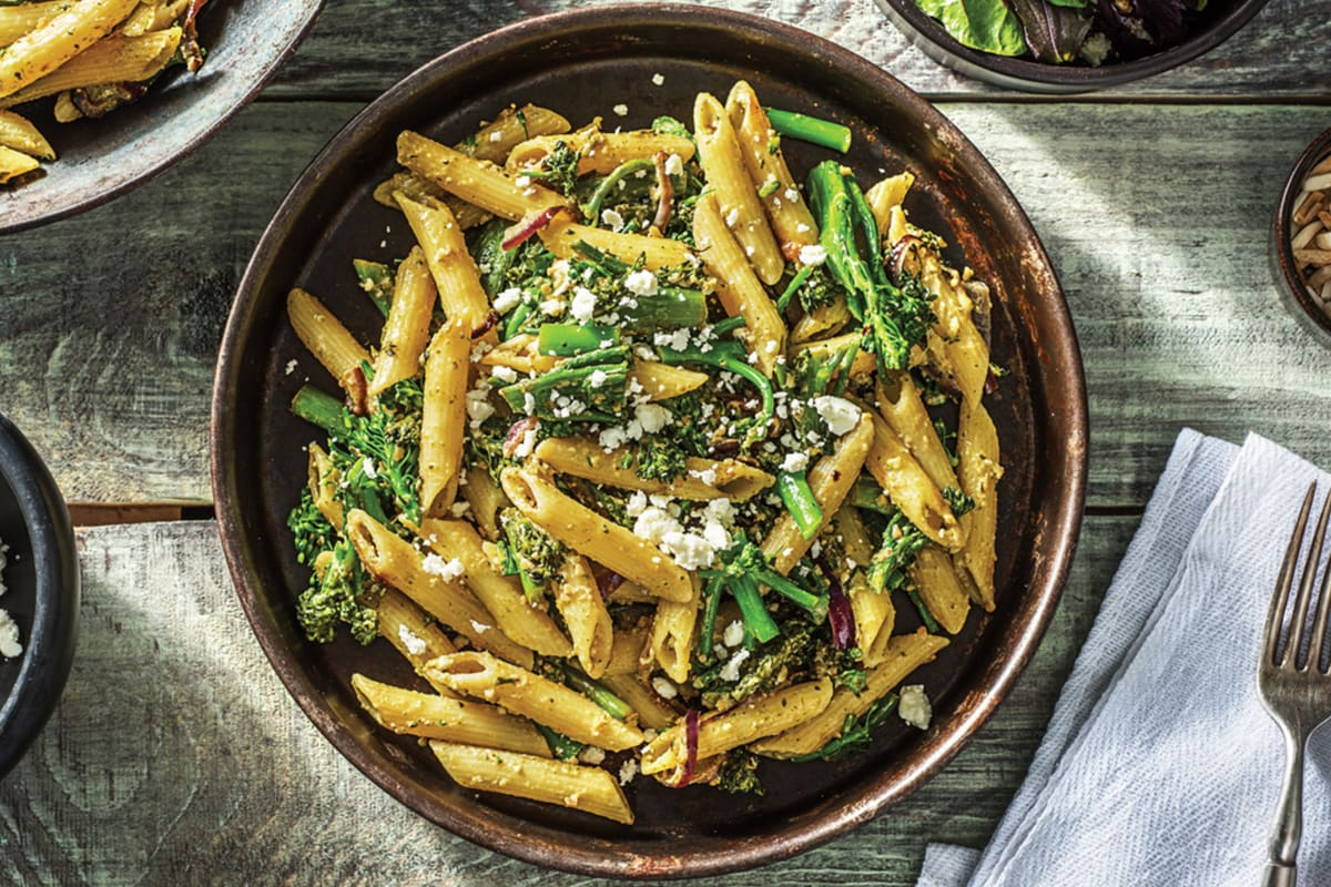 (Vegetarian) Speedy Lemon Basil Pesto Penne