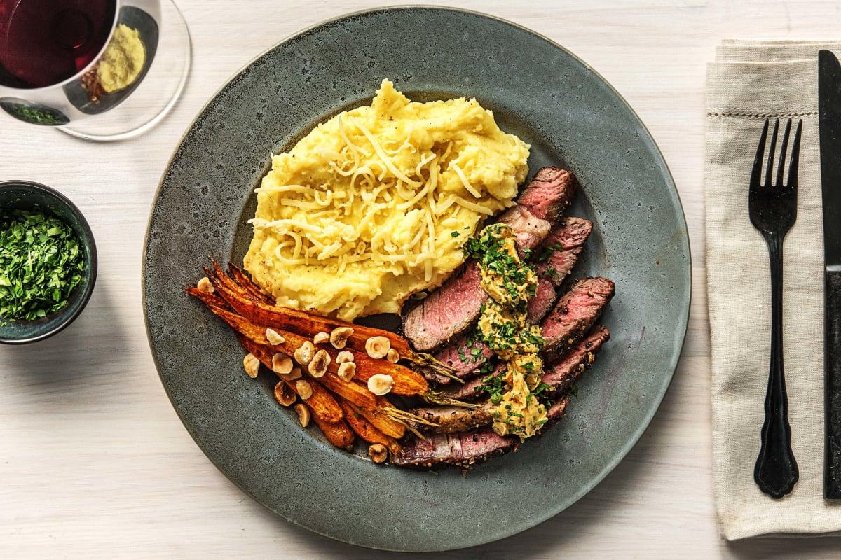 Rib-Eye Steak Over Gruyère Mashed Potatoes