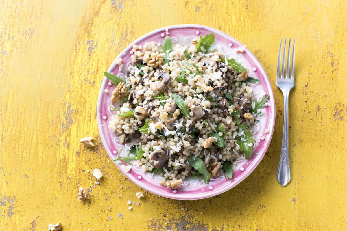 Couscous perlé aux champignons et au gruyère