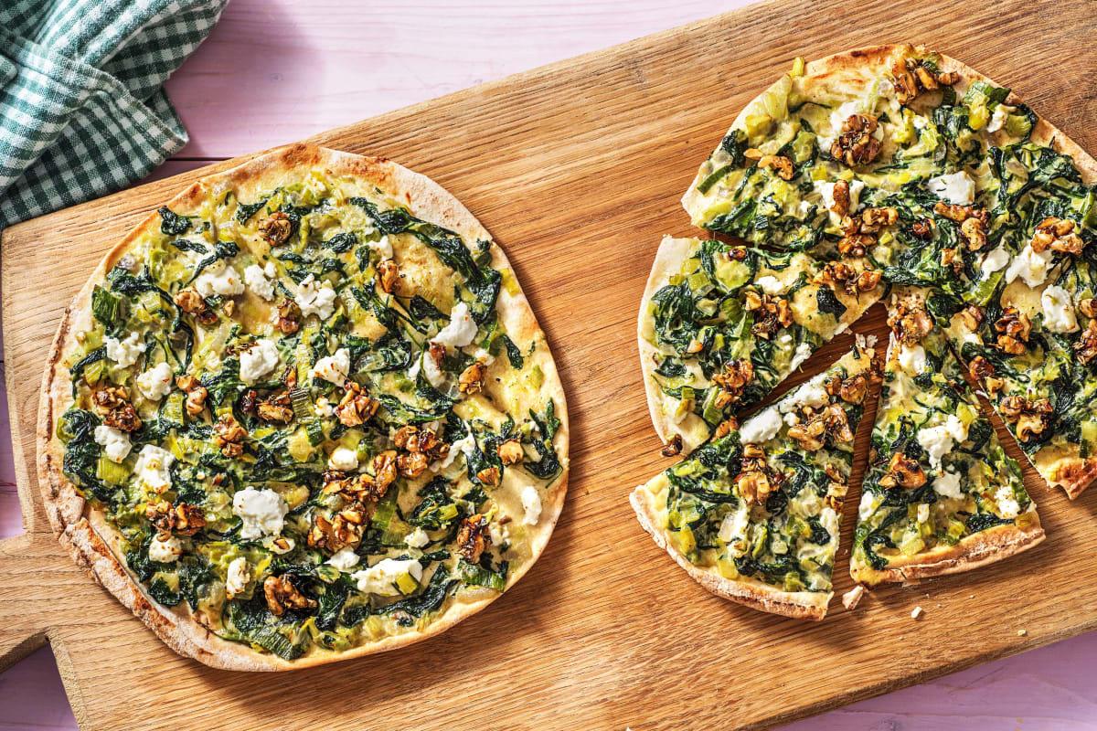 Pizza verde met geitenkaas