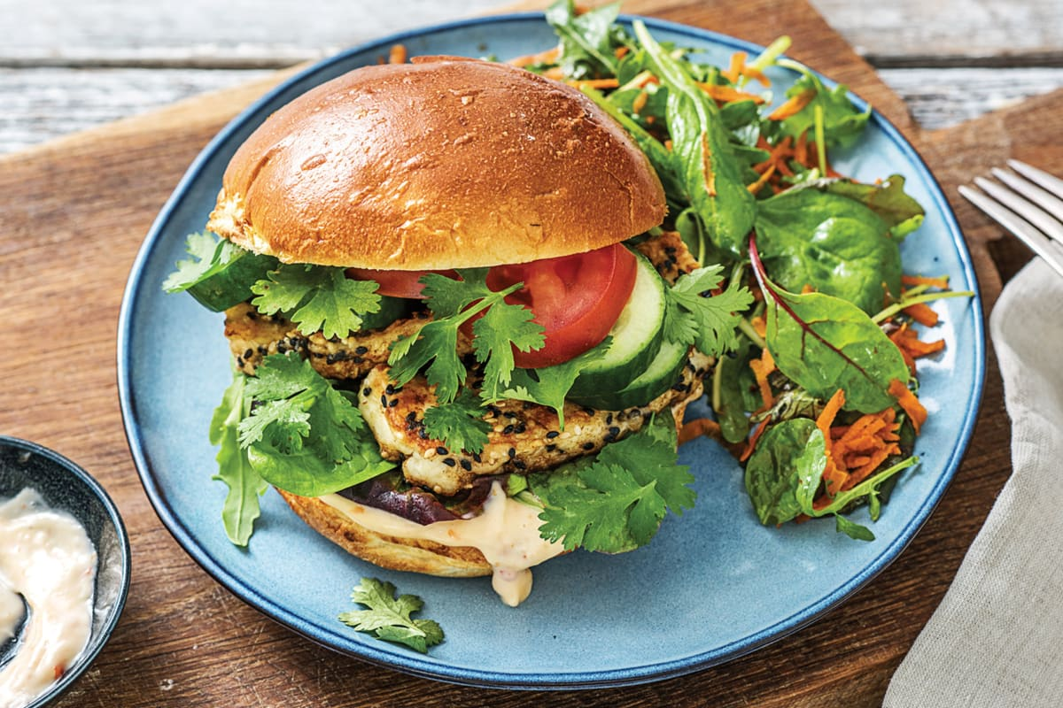 Sesame-Crusted Haloumi Burger