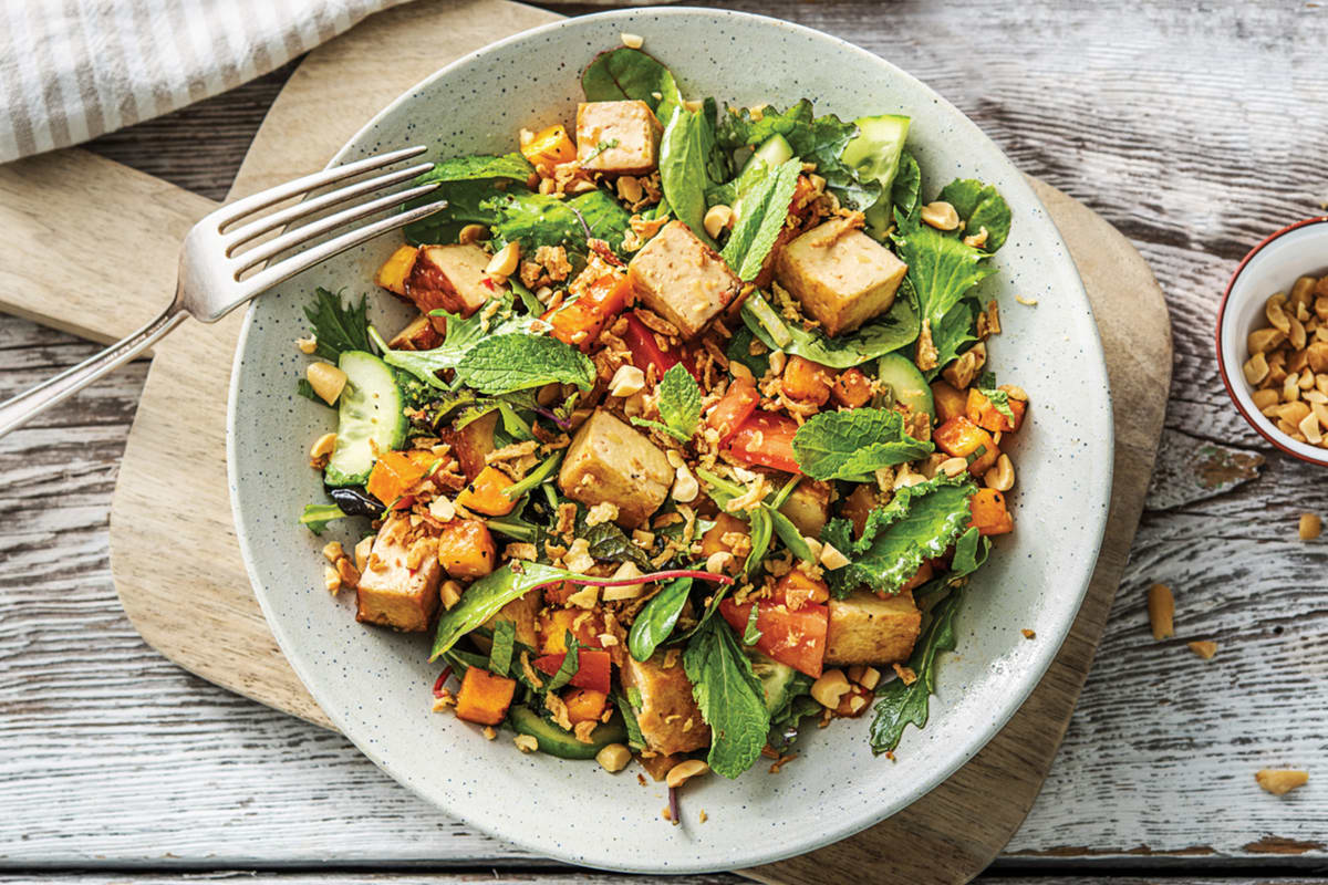 Peking-Style Tofu & Sweet Chilli Pumpkin Salad