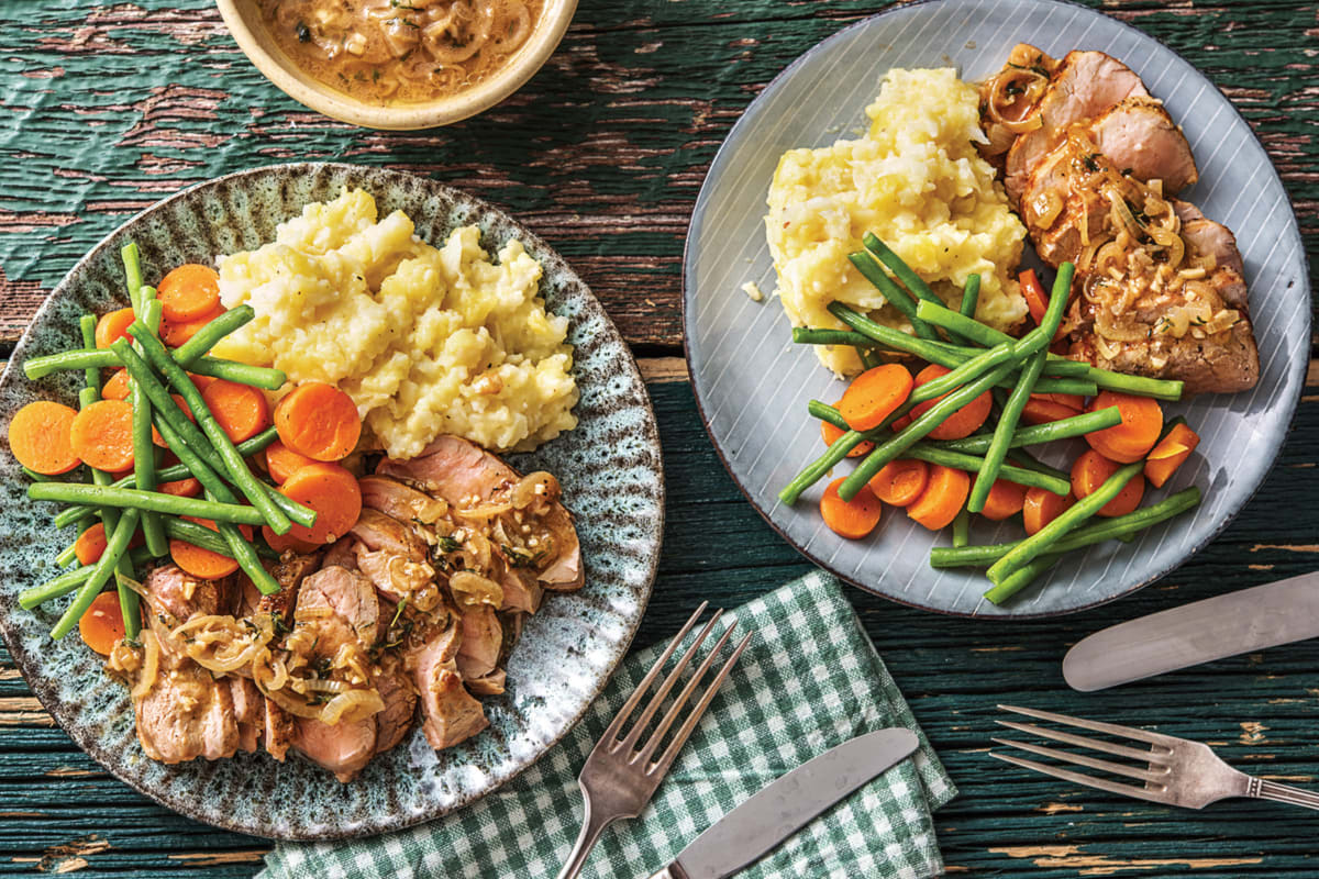 Seared Pork & Cheesy Cauliflower-Potato Mash