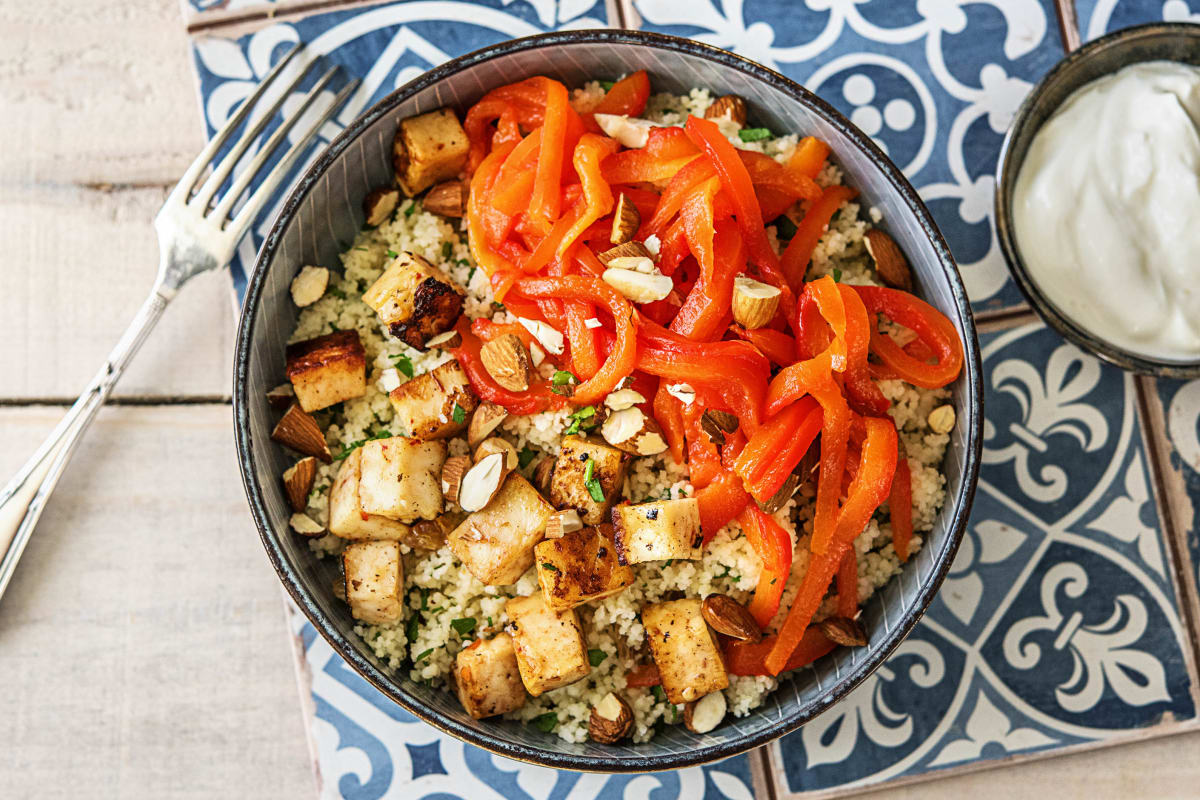 Couscous met halloumi en gebakken rode paprika