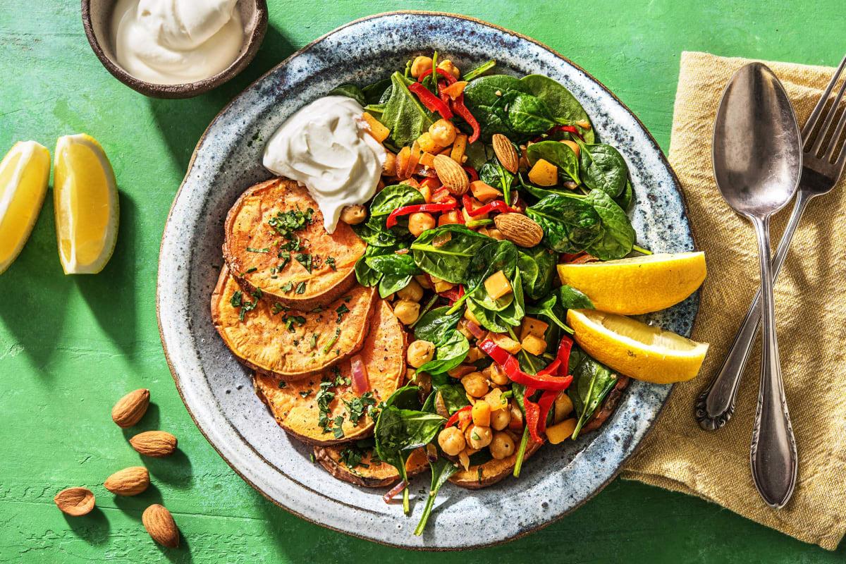 Salade orientale aux patates douces et aux pois chiches