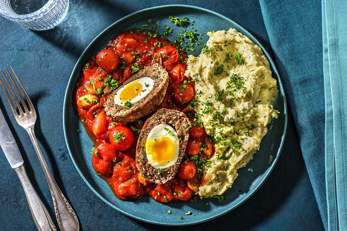 Œufs écossais et sauce tomate