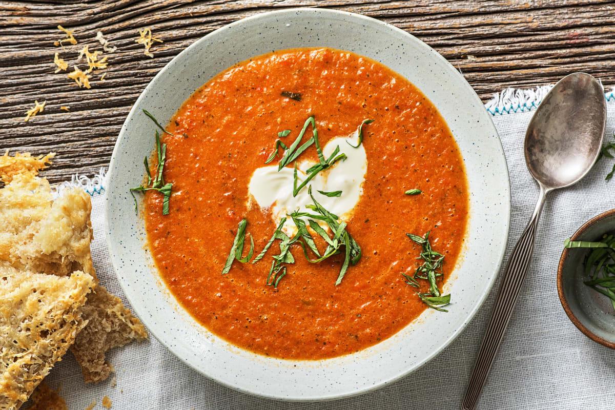 Soupe de tomates et de poivron rôti
