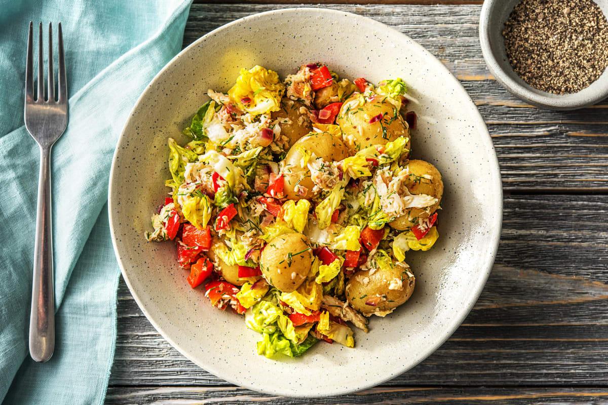 Salade de pommes de terre et truite fumée