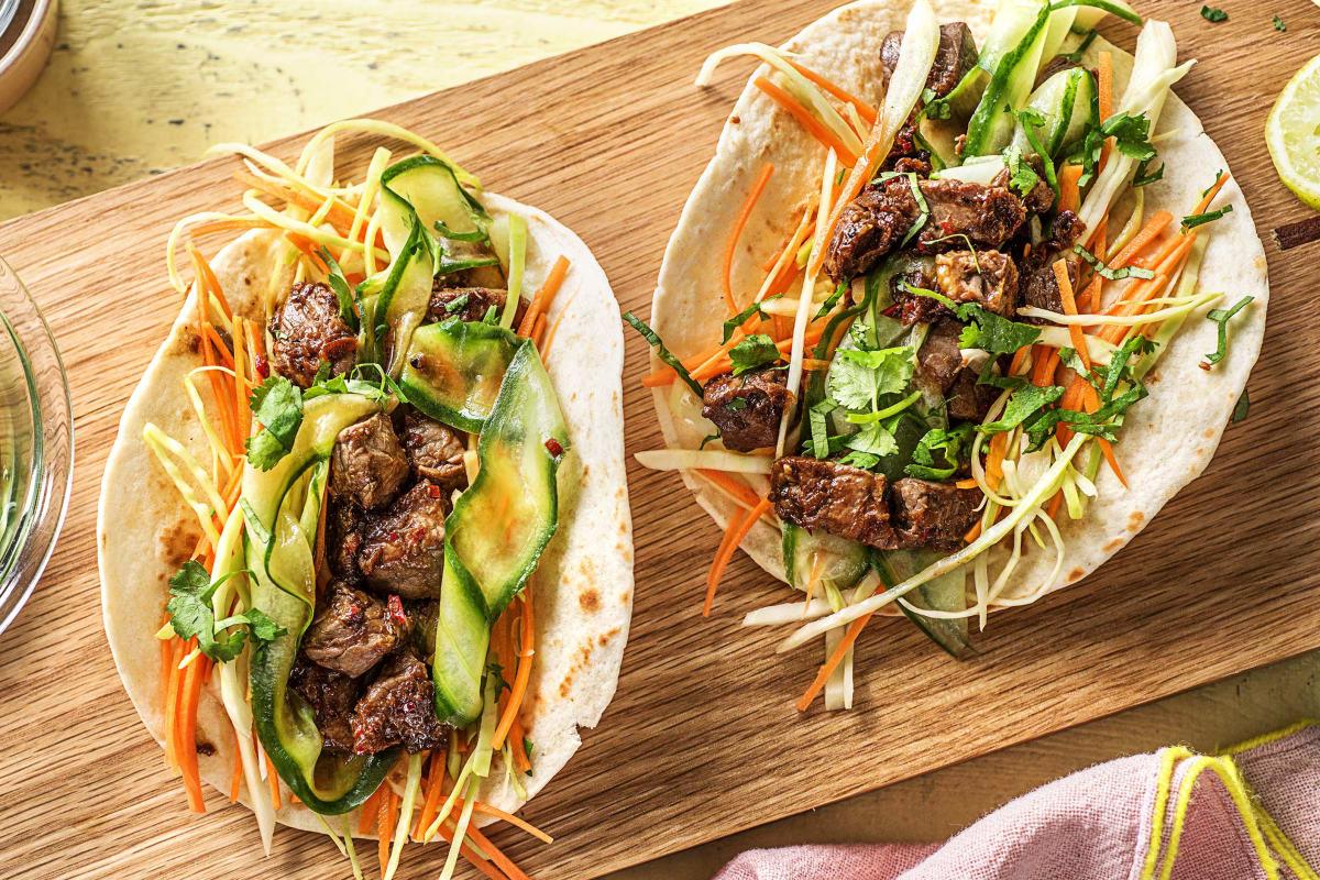 Koreaanse wraps met biefstukpuntjes