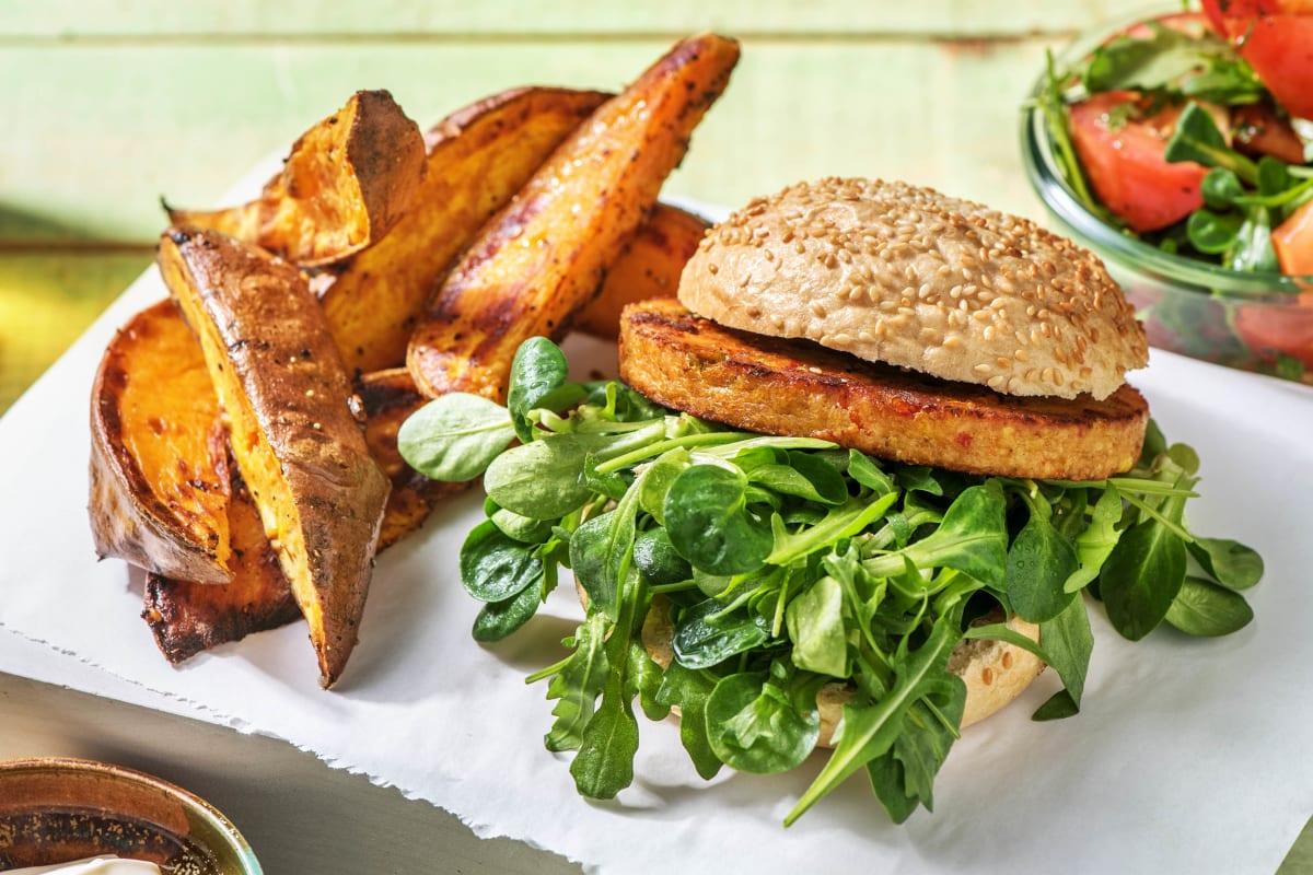 Burger végétarien et quartiers de patate douce