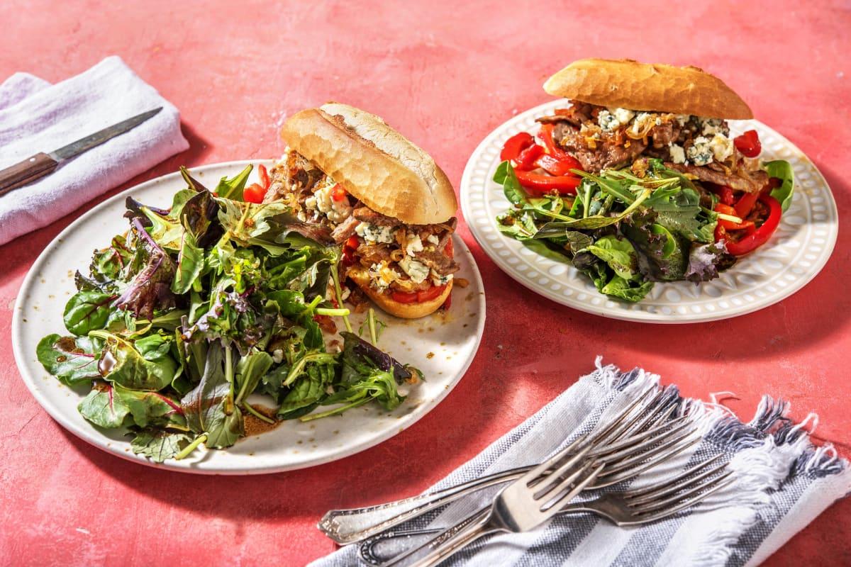 Sandwich au bœuf et au poivron rôti