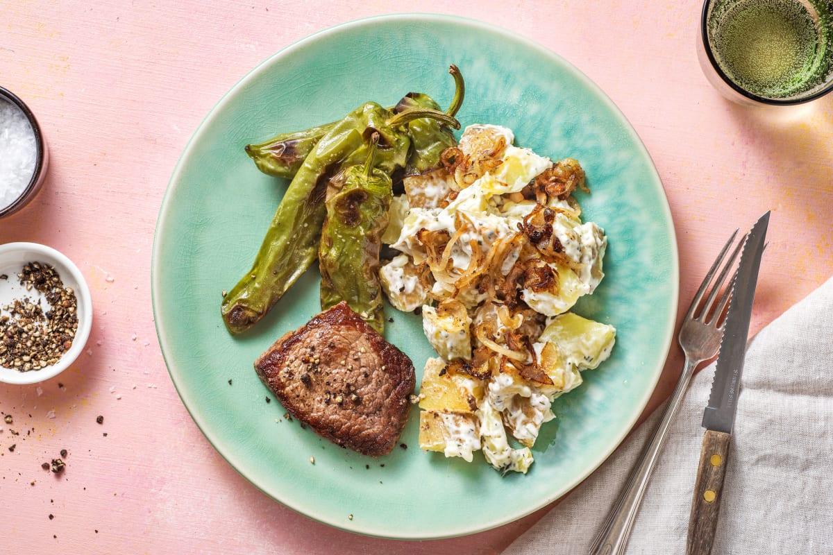 Steak et salade de pomme de terre