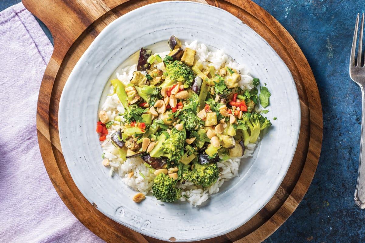 Thai Eggplant & Broccoli Yellow Curry