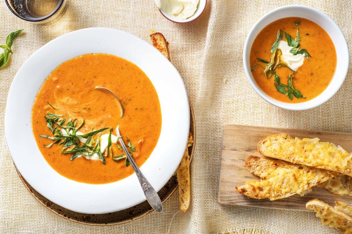 Soupe de tomate et de poivron grillés