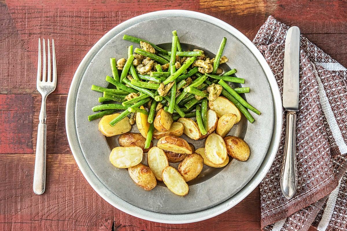 Grenailles au four, poulet et haricots verts