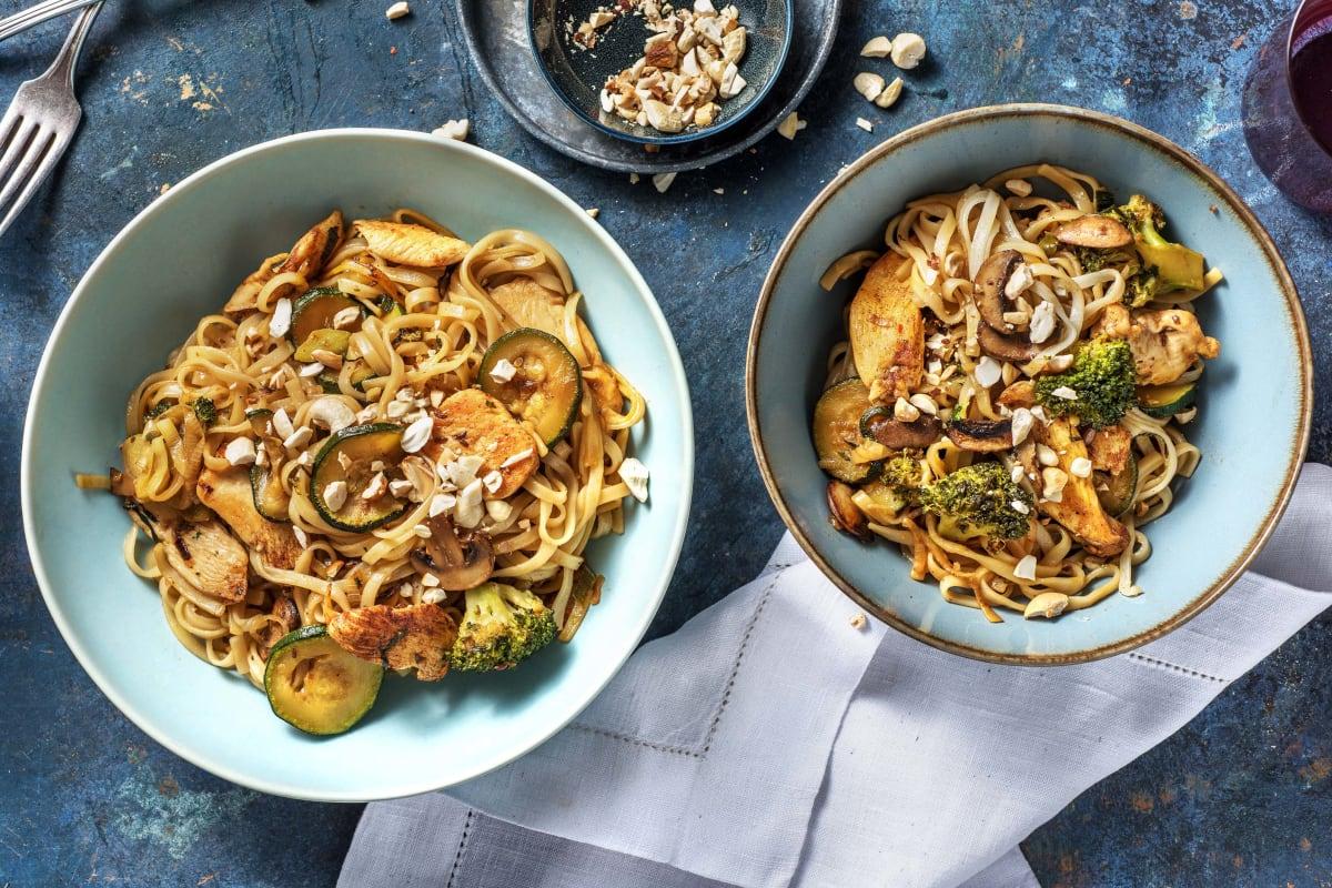Snelle wokschotel met Japanse kipfiletreepjes