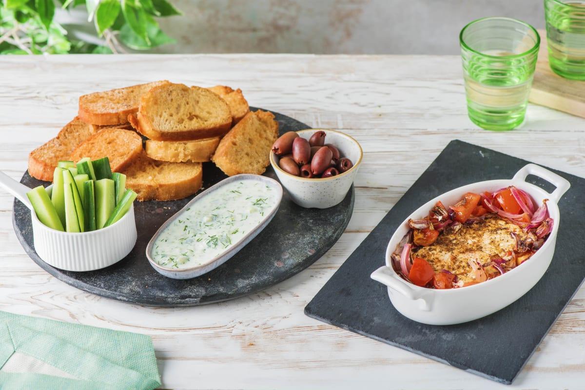 Gebackener Hirtenkäse mit Kalamata-Oliven
