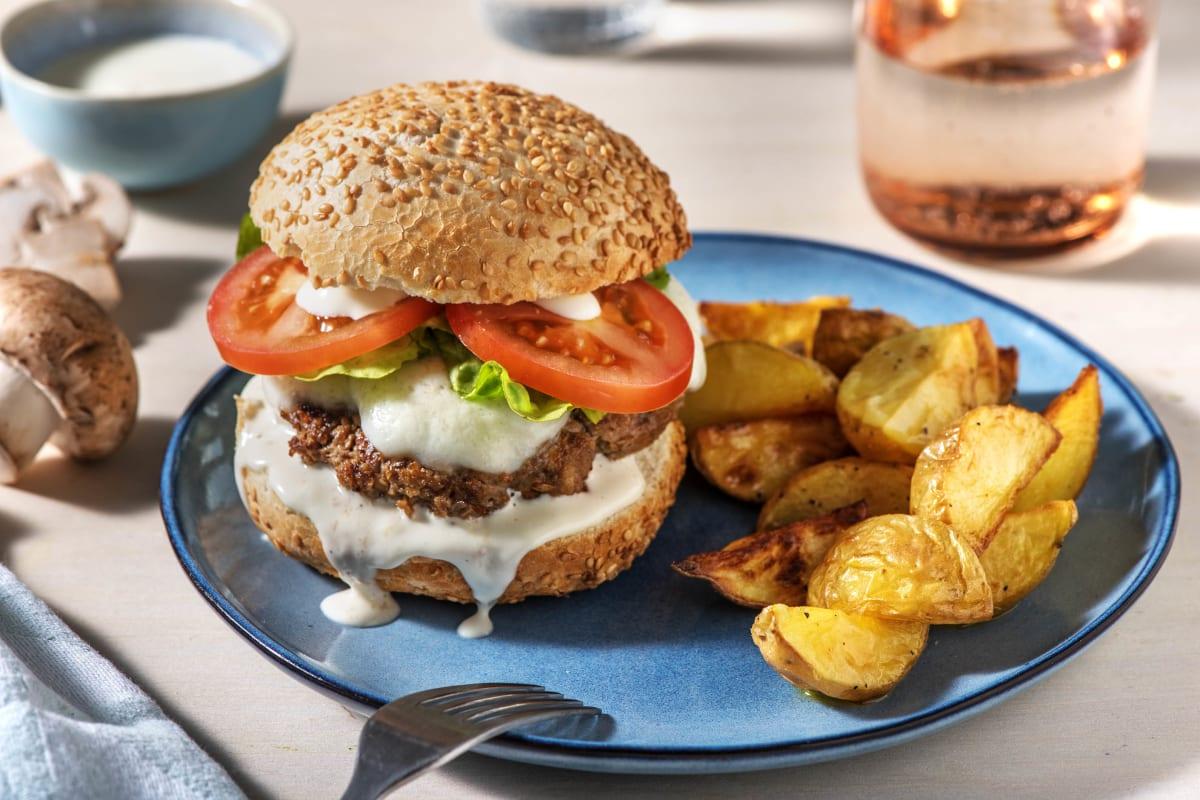 Burger aus Rindfleisch und Champignons