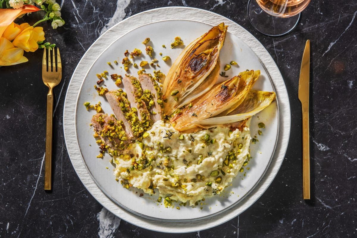 Filet mignon en croûte de pistache au thym