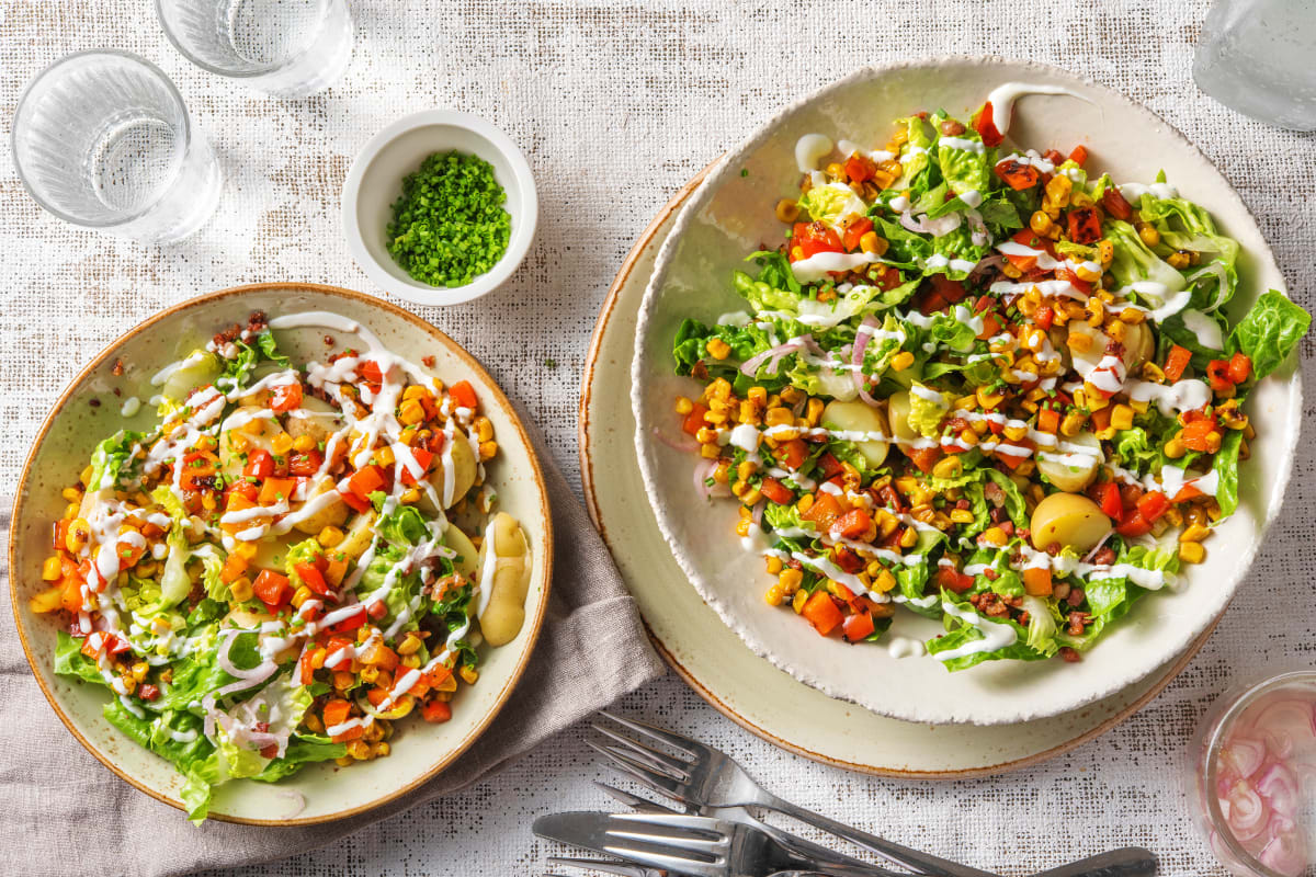Salade de grenailles au maïs et aux lardons.