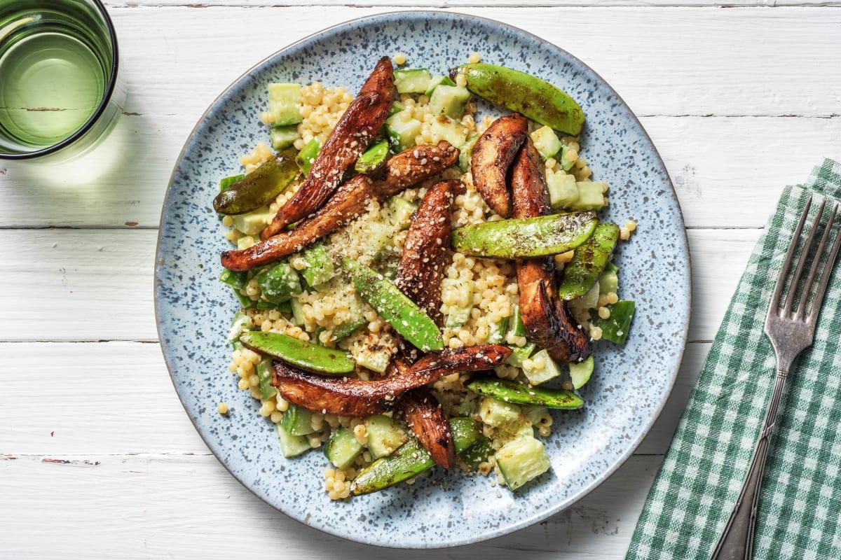 Salade de couscous perlé au poulet mariné