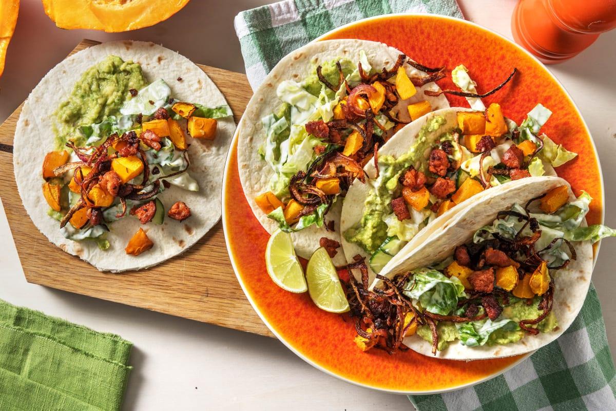 Tacos mit Kürbis-Ofengemüse und Chorizo