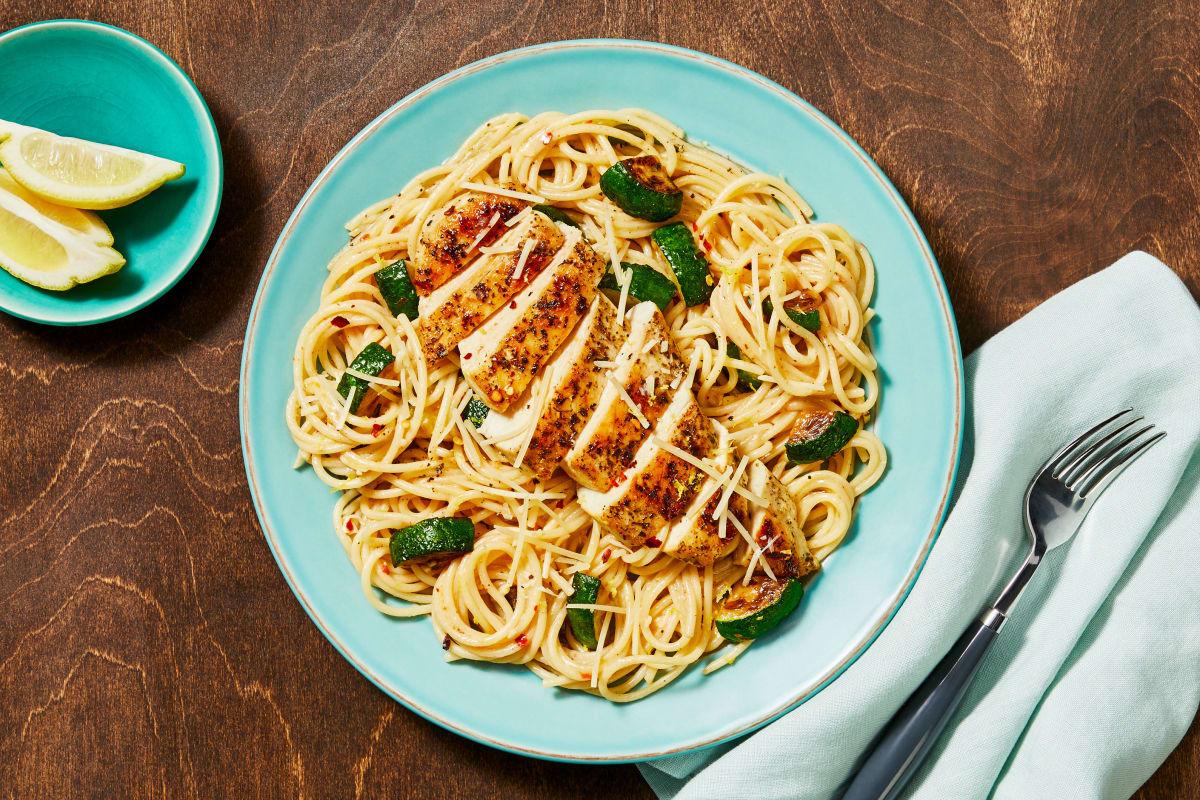 Italian Chicken over Lemony Spaghetti