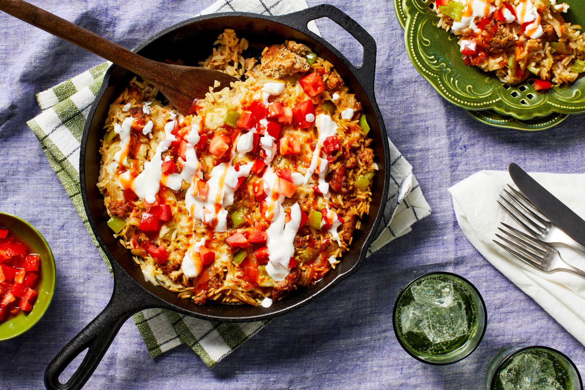 Southwest Chicken Sausage & Rice Skillet