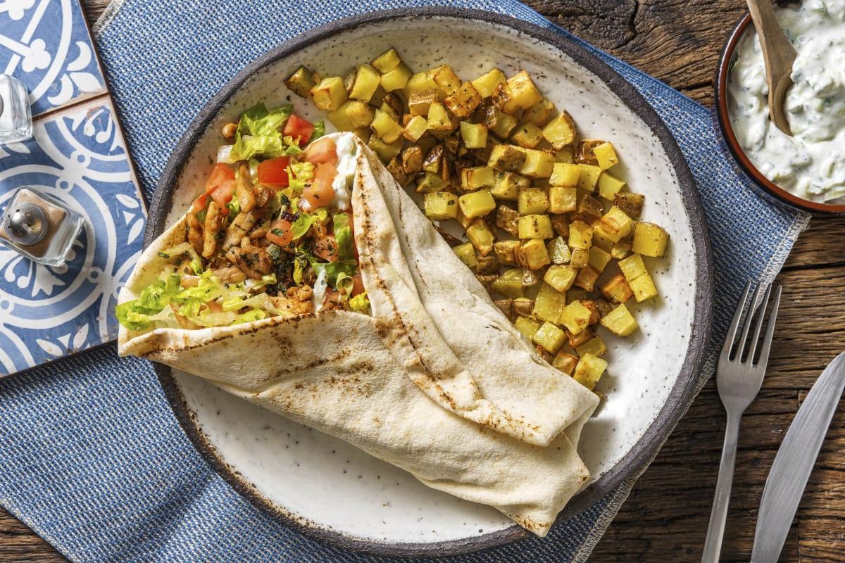 Shoarma de poulet et pain plat libanais