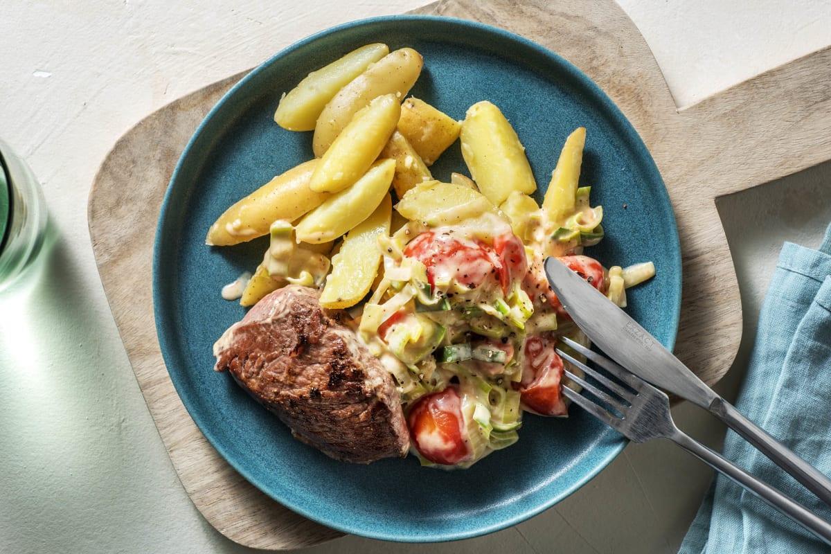 Rinderhüftsteak mit Knoblauch-Kartoffeln