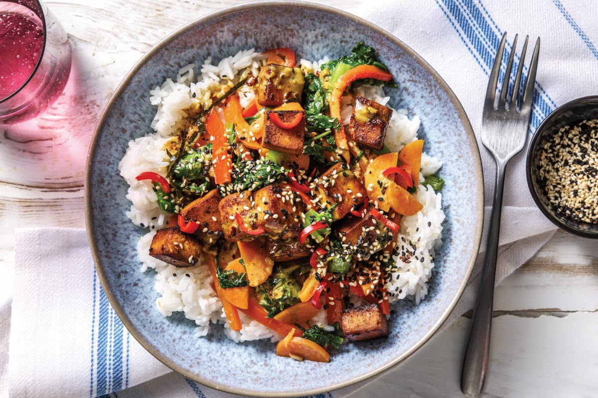Asian Tofu & Veggie Rice Bowl
