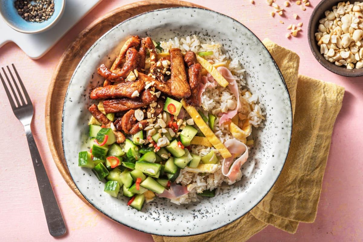 Gemarineerde varkensreepjes met Chinese rijst
