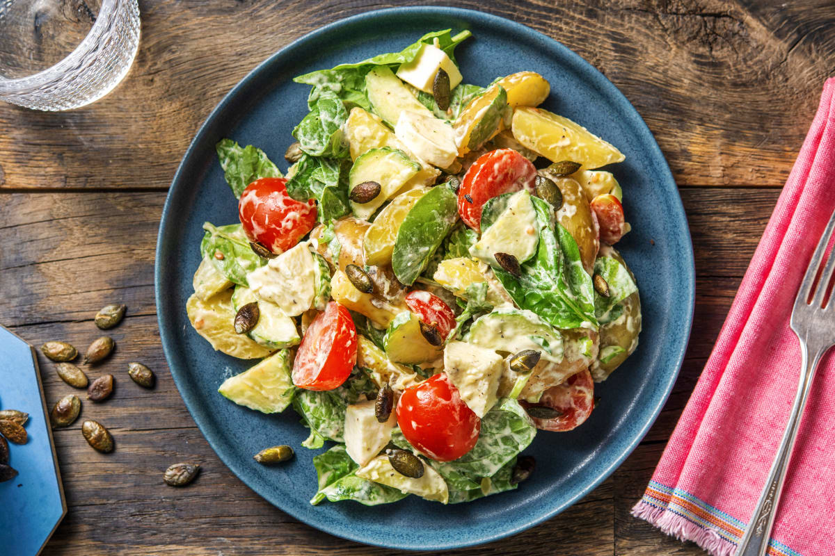 Warmer Kartoffelsalat mit Babyspinat
