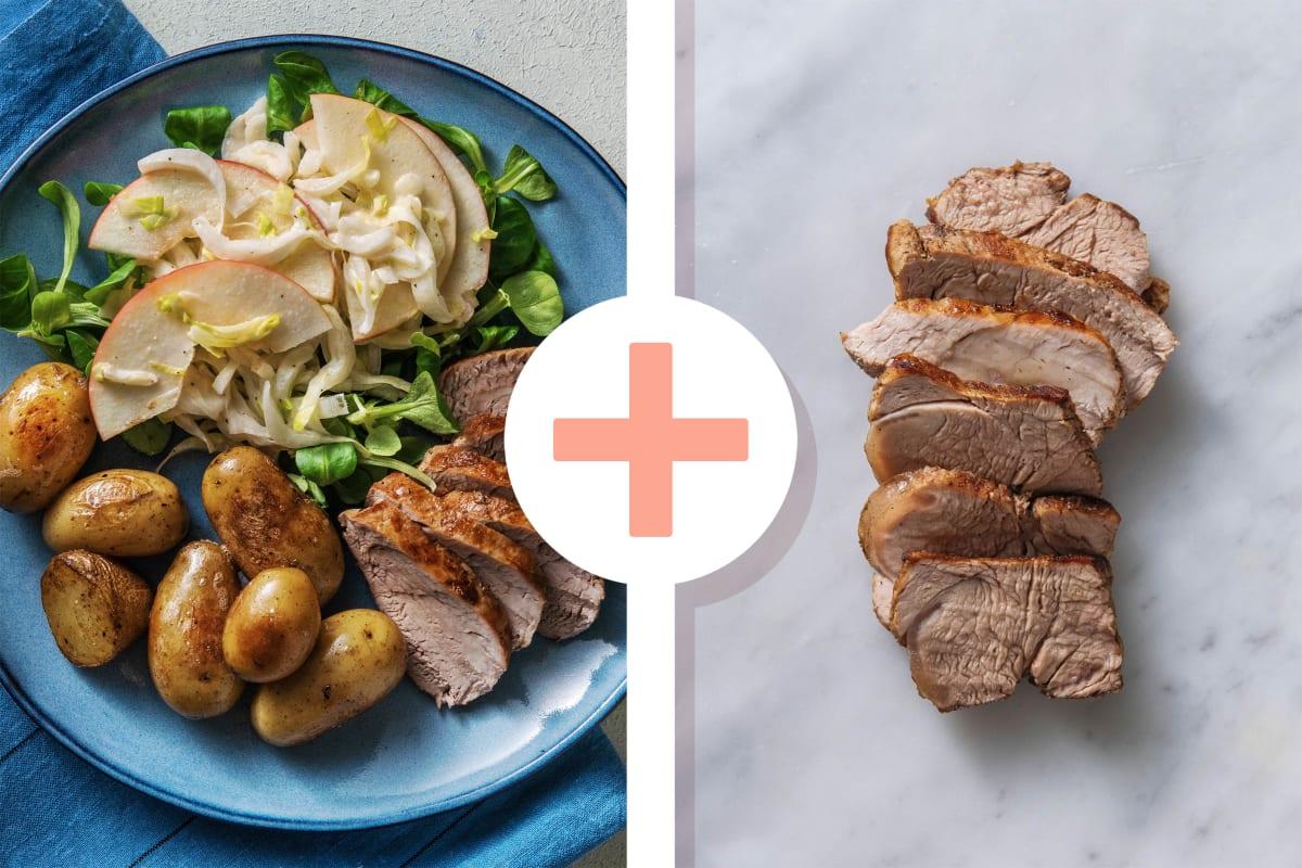Filet mignon en double portion avec une salade d'endives à la pomme