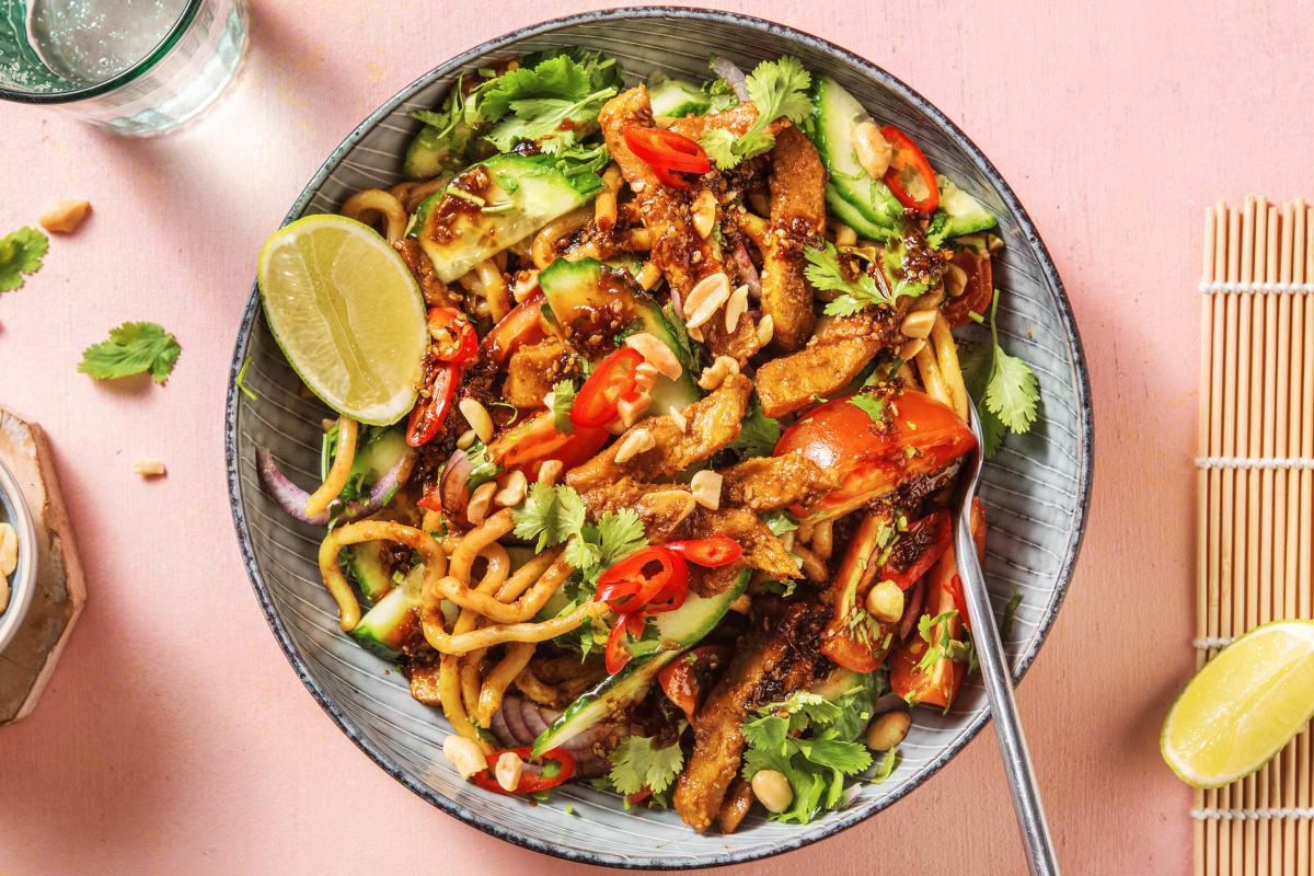 Thaise salade met vegetarische runderpuntjes