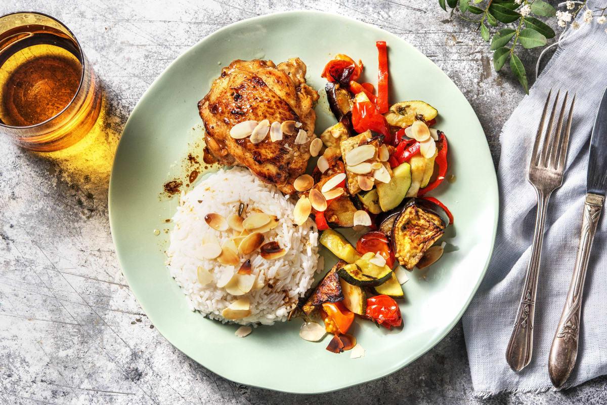 Cuisse de poulet et légumes rôtis