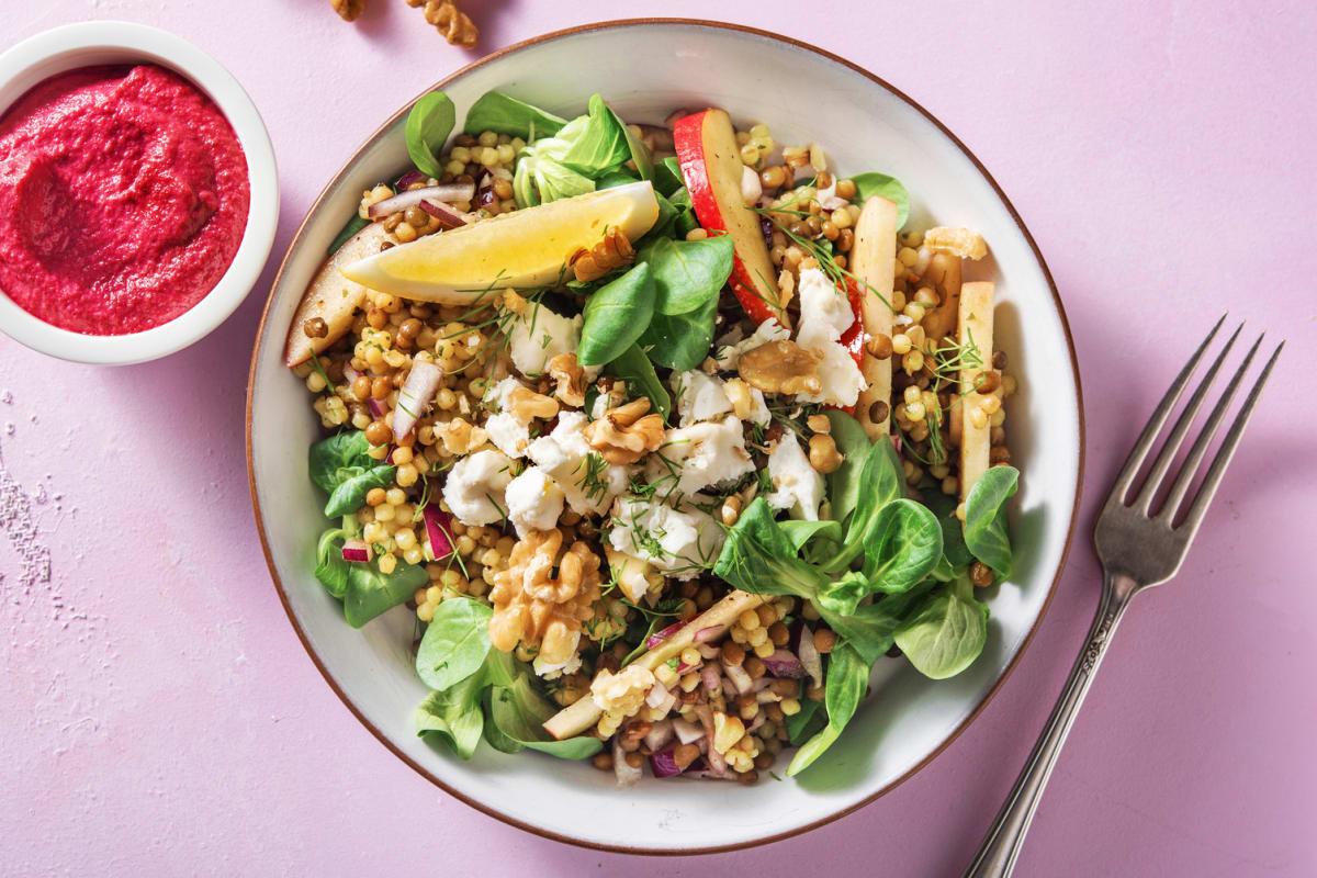 Salade de couscous perlé et de lentilles à la crème de betteraves rouges