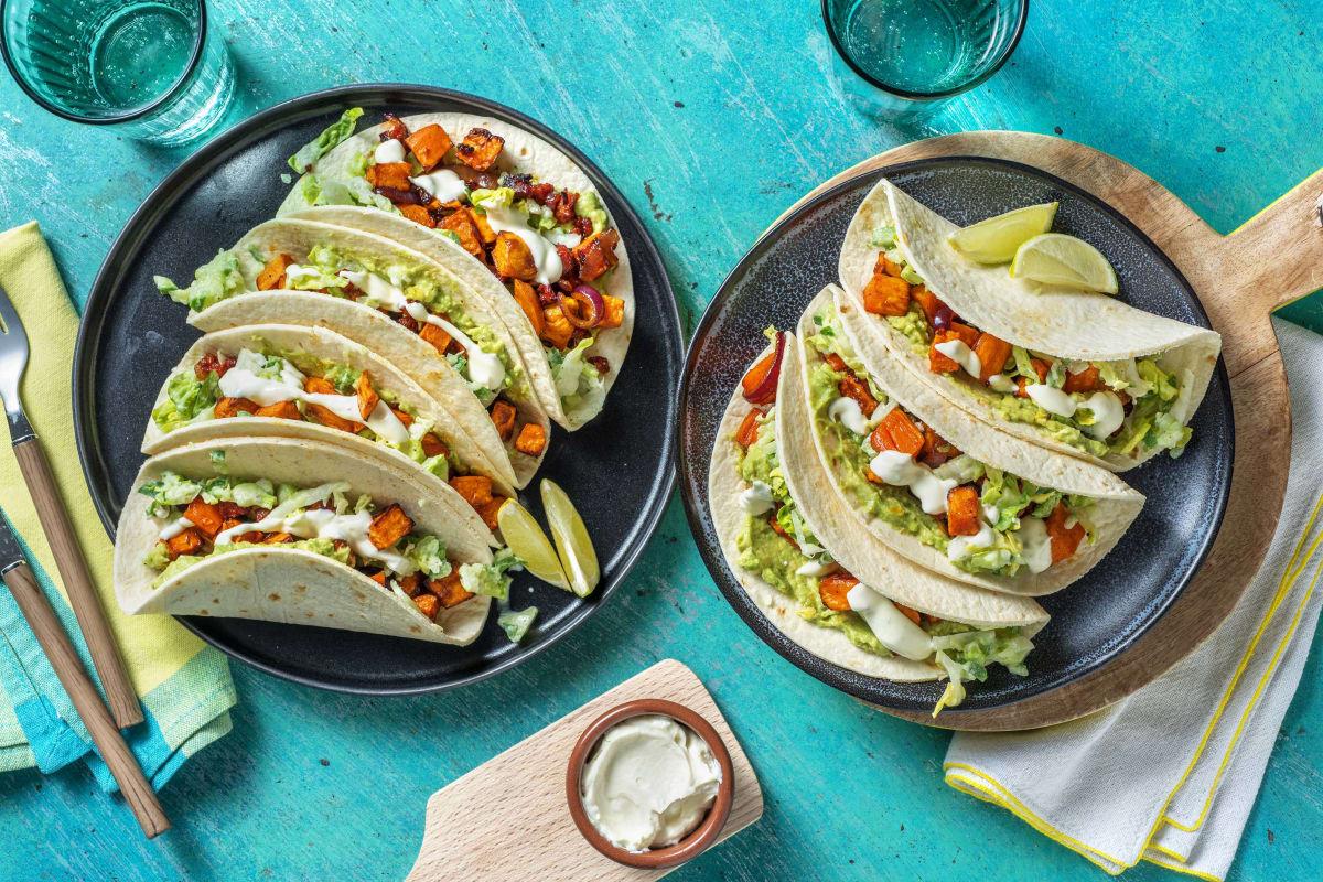 Tacos mit Süßkartoffelwürfeln und Chorizo