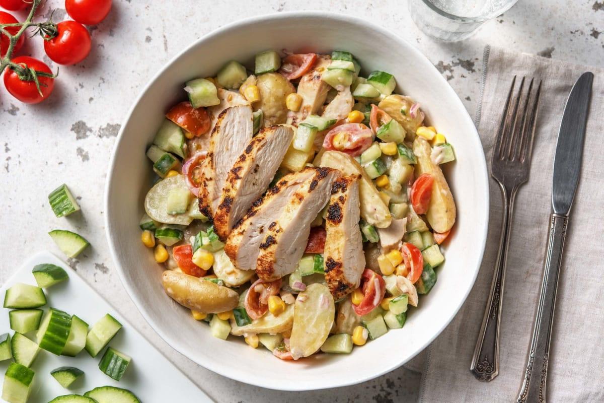 Salade au poulet à la méditerranéenne et aux grenailles