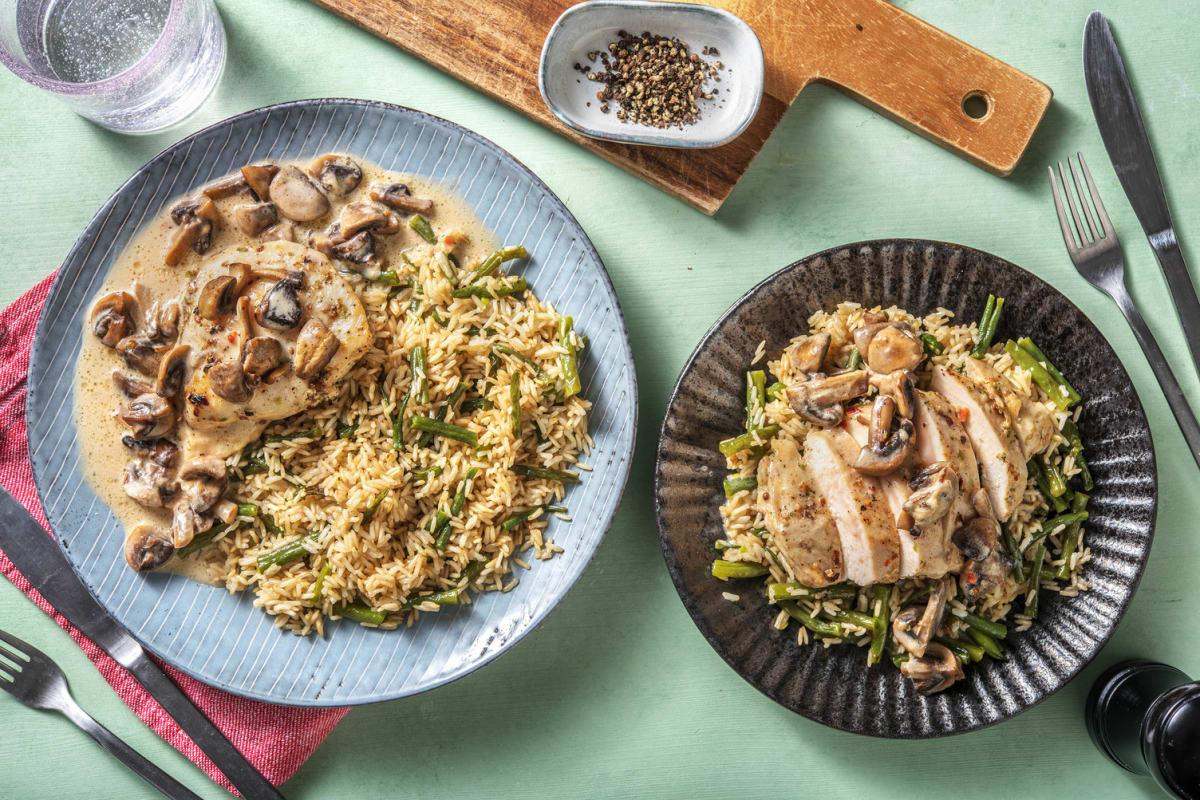 Gekruide kipfilet met champignon-roomsaus