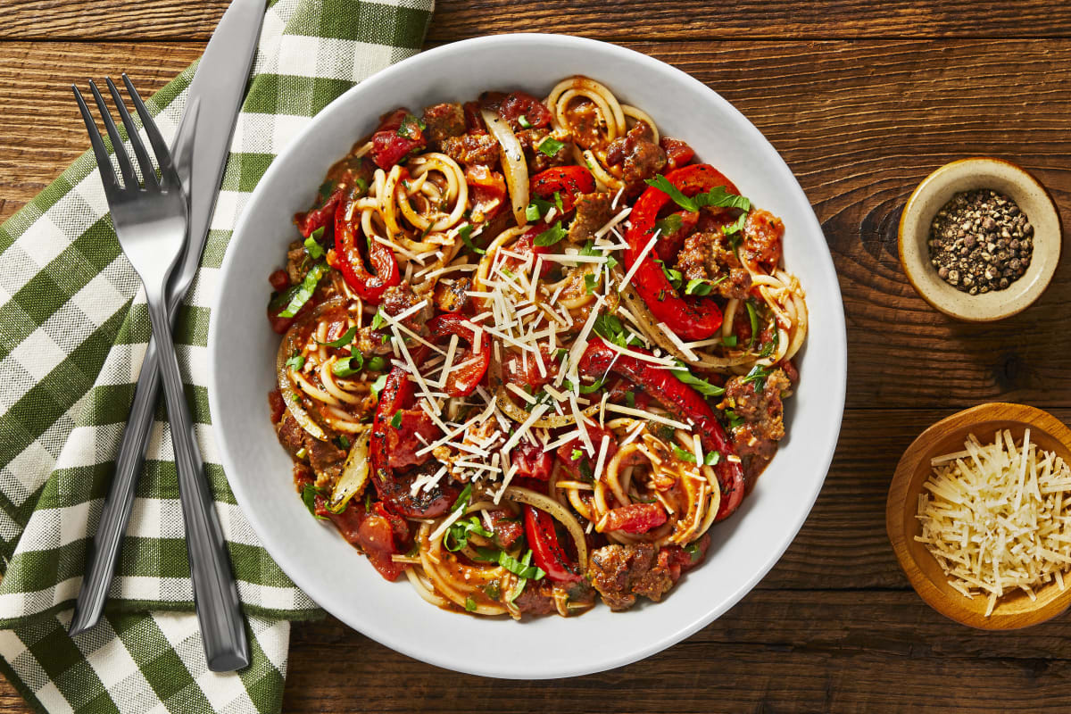 Tuscan Pork Sausage & Pepper Spaghetti