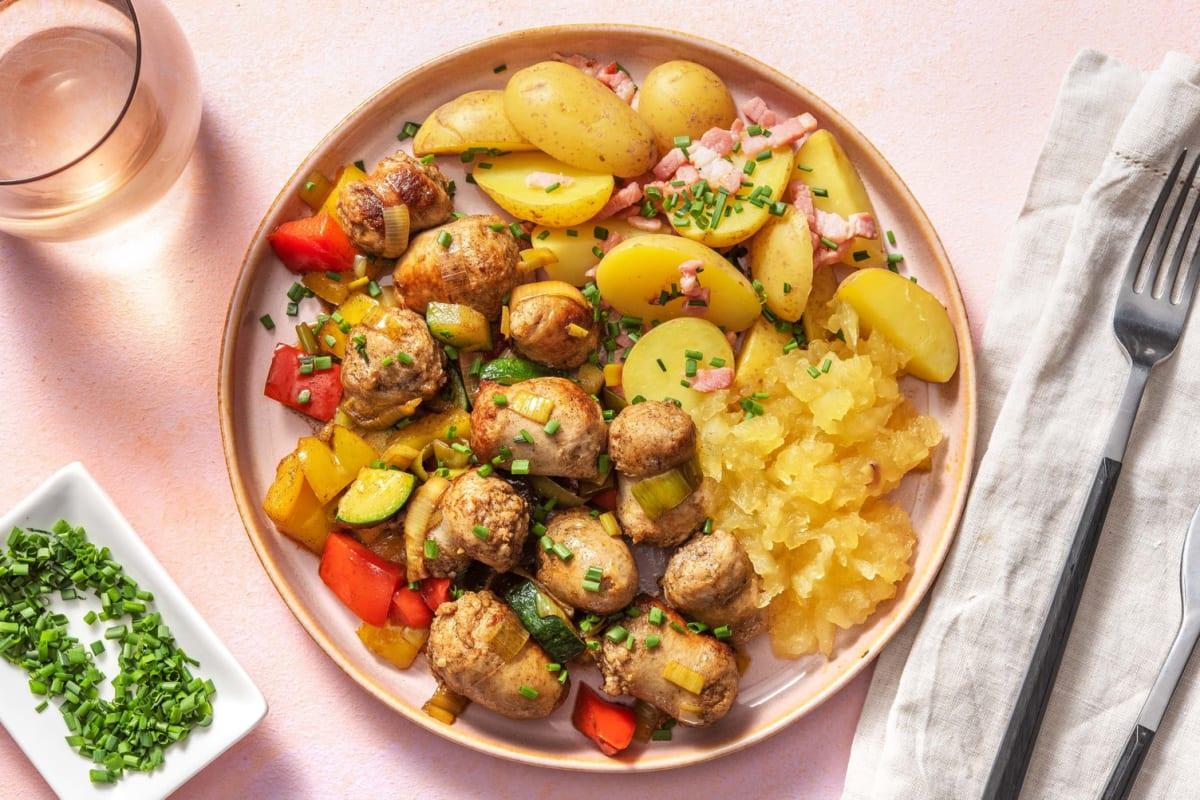 Saucisses de poulet et compote de pomme maison