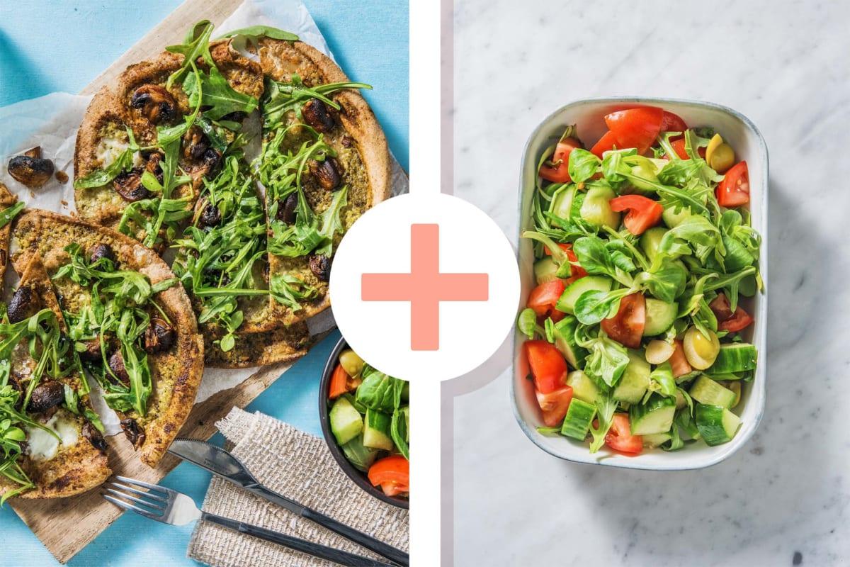 Platbroodpizza met groene pesto